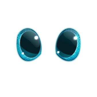 Leuke glazen blauwe ogen uit een 3d-cartoon of voor een knuffel, realistische stijl, geïsoleerd op wit. vector illustratie
