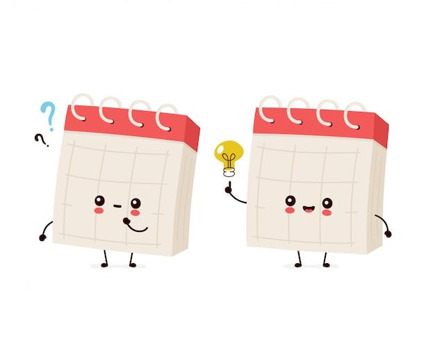 Leuke glimlachende gelukkige bureaukalender met vraagteken en idee gloeilamp