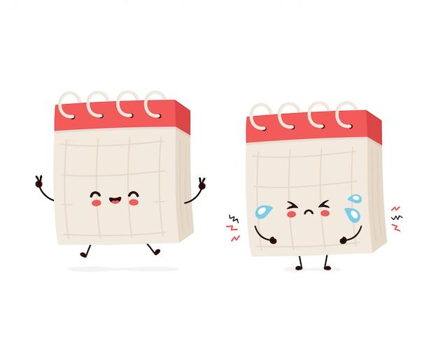 Leuke glimlachende gelukkige en droevige schreeuwbureaukalender.