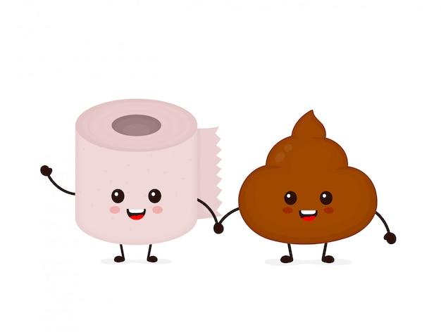 Leuke glimlachende gelukkige grappige kak en toiletpapierbroodje. platte cartoon karakter illustratie pictogram. geïsoleerd op blauw. kak shit, toiletpapier, wc, badkamer