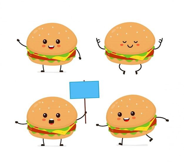 Leuke glimlachende gelukkige grappige leuke hamburgerset. moderne vlakke stijl cartoon karakter illustratie. geïsoleerd op wit. hamburger, hamburger maaltijd. rennen, meditatie, staat met een bord