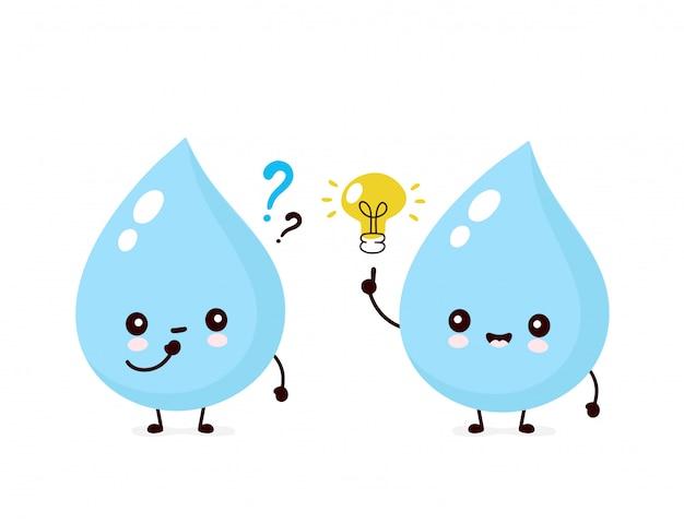 Leuke glimlachende gelukkige waterdaling met vraagtekens en gloeilamp. platte cartoon karakter illustratie. geïsoleerd op wit. water drop karakter