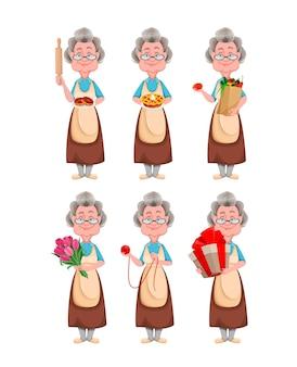 Leuke glimlachende oude vrouw. vrolijke grootmoeder stripfiguur