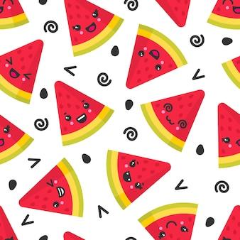 Leuke glimlachende watermeloen, naadloos patroon op witte achtergrond