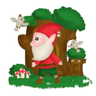 Leuke gnome en boomhut in aquarelstijl.