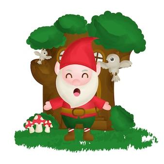 Leuke gnome staande voorboomhut in aquarelstijl.