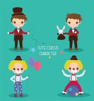 Leuke goochelaar en clown cartoon tekenset