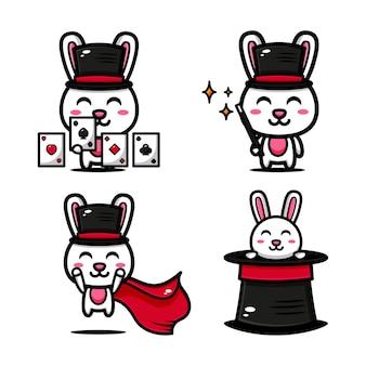 Leuke goochelaarkonijntje speelt magische kaarten als thema