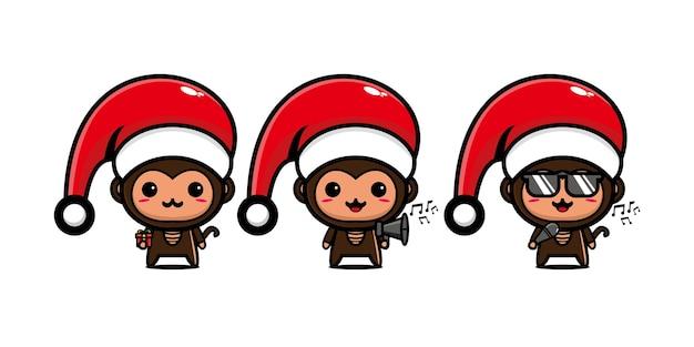 Leuke grappige aap karakter vieren kerst vector platte lijn kawaii stripfiguur