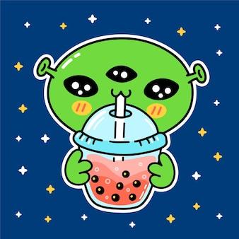 Leuke grappige alien drink bubble tea uit beker. vector hand getekend cartoon kawaii karakter illustratie sticker logo pictogram. aziatische boba, bubble tea drinken stripfiguur logo poster concept