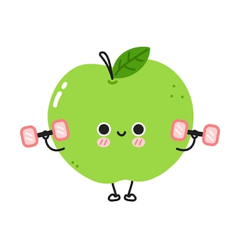 Leuke grappige appel maak gym met dumbbells