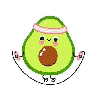 Leuke grappige avocado maak sportschool met springtouw