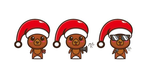 Leuke grappige beer karakter in kerstmuts vector platte lijn kawaii cartoon karakter illustratie