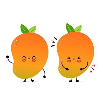 Leuke grappige blij en verdrietig mango fruit. vector hand getekend cartoon kawaii karakter illustratie pictogram. geïsoleerd op een witte achtergrond. mango exotisch babyfruit karakterconcept