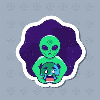 Leuke grappige buitenaardse invasie sticker cartoon afbeelding.