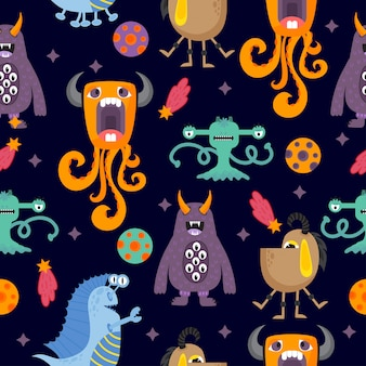 Leuke grappige cartoon monsters naadloze patroon