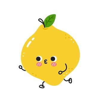 Leuke grappige citroenjogging. vector platte lijn cartoon kawaii karakter illustratie pictogram. geïsoleerd op een witte achtergrond. citroen training karakter concept