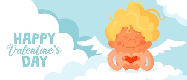 Leuke grappige cupido vouwde zijn vingers om een hartteken te vormen. valentijnsdag kaart of banner