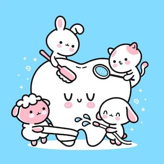 Leuke grappige dierentandartsen die geduldige tand schoonmaken