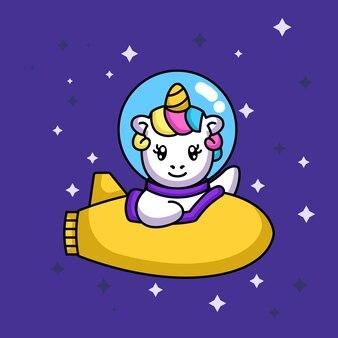 Leuke grappige eenhoorn met ruimtepak in de ruimte