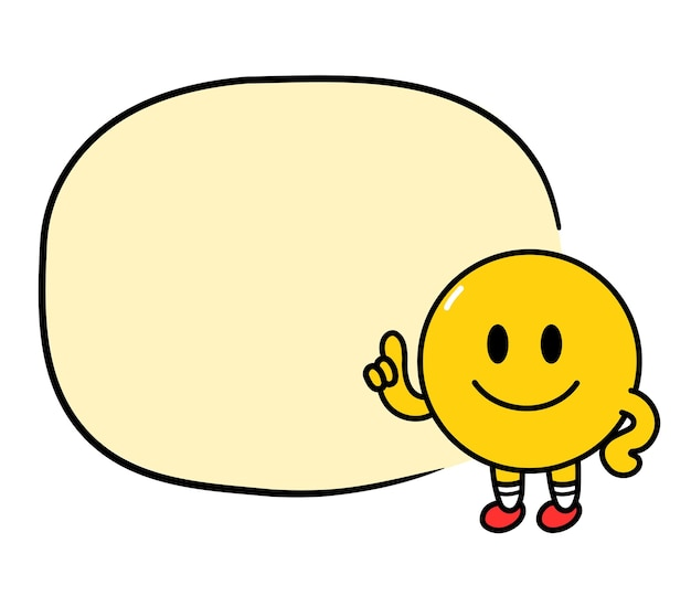 Leuke grappige emoji glimlach gezicht met tekstvak. vector platte lijn doodle cartoon kawaii karakter illustratie pictogram. geïsoleerd op een witte achtergrond. geel emoji cirkel karakter concept