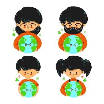 Leuke grappige familie houdt planeet aarde in de hand