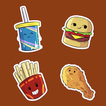 Leuke grappige fast food combo illustratie set