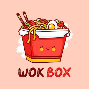 Leuke grappige gelukkig wok noodle box karakter logo sjabloon. platte lijn cartoon kawaii karakter illustratie pictogram. geïsoleerd op witte achtergrond. aziatisch eten, noodle, wok box karakter logo concept