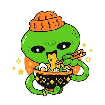 Leuke grappige gelukkige alien eet aziatische ramen met stokjes. buitenaards, japans, koreaans, chinees voedselconcept