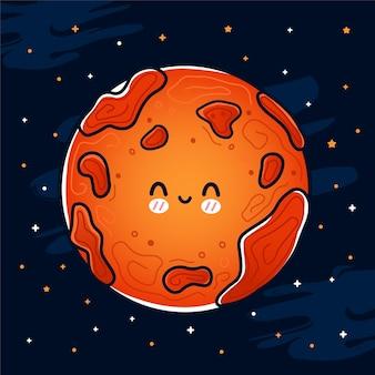 Leuke grappige gelukkige glimlach mars-planeet in de ruimte