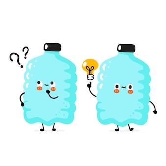Leuke grappige gelukkige glimlach plastic fles karakter met vraagteken en idee gloeilamp