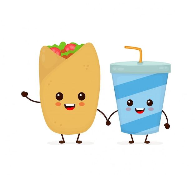 Leuke grappige glimlachende gelukkige buritto en sodawaterkop. platte cartoon karakter illustratie pictogram. geïsoleerd op wit. snel voedsel, mexicaans koffiemenu, buritto en sodakop