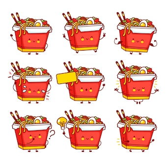 Leuke grappige happy wok noodle box character set collection. vector platte lijn cartoon kawaii karakter illustratie pictogram. aziatisch eten, noodle, wok box karakter bundel concept