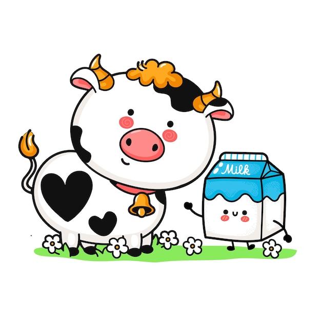 Leuke grappige kleine koe en melk box op weide. vector hand getekend cartoon kawaii karakter illustratie pictogram. geïsoleerd op een witte achtergrond. koe huisdier, melk vak mascotte doodle cartoon logo karakter concept