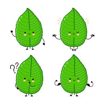 Leuke grappige kratom blad tekenset