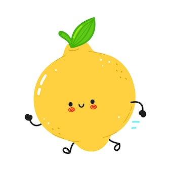 Leuke grappige lopende citroen