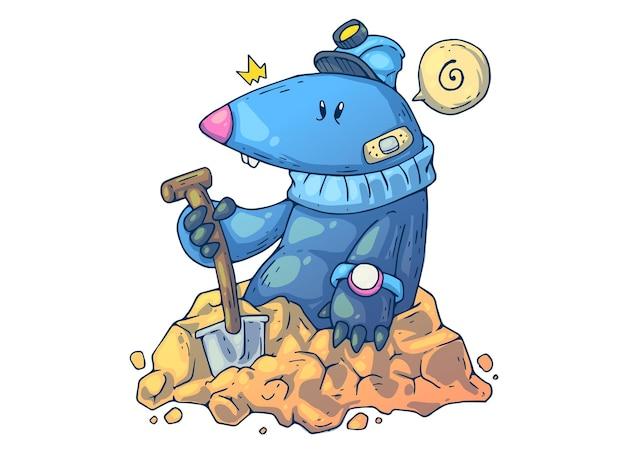 Leuke grappige mol mijnwerker. creatieve cartoon illustratie.