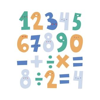 Leuke grappige nummers voor kinderen schattige wiskundige karakters platte vectorillustratie