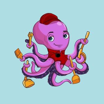 Leuke grappige octopus conciërge schoonmakende dienstmascotte