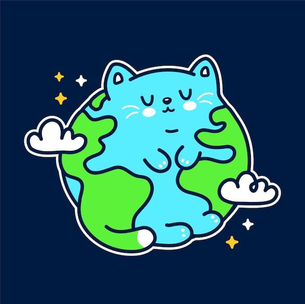 Leuke grappige planeet aarde kat karakter. vector hand getrokken doodle cartoon kawaii karakter illustratie pictogram. leuke aarde, kat, kittie cartoon mascotte concept