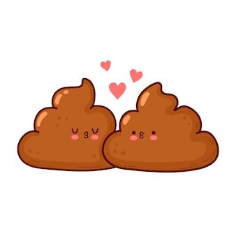 Leuke grappige poep kusjes. gelukkig valentijnsdag kaart. vector platte lijn cartoon kawaii karakter illustratie pictogram. geïsoleerd op een witte achtergrond. valentijnsdag kak concept