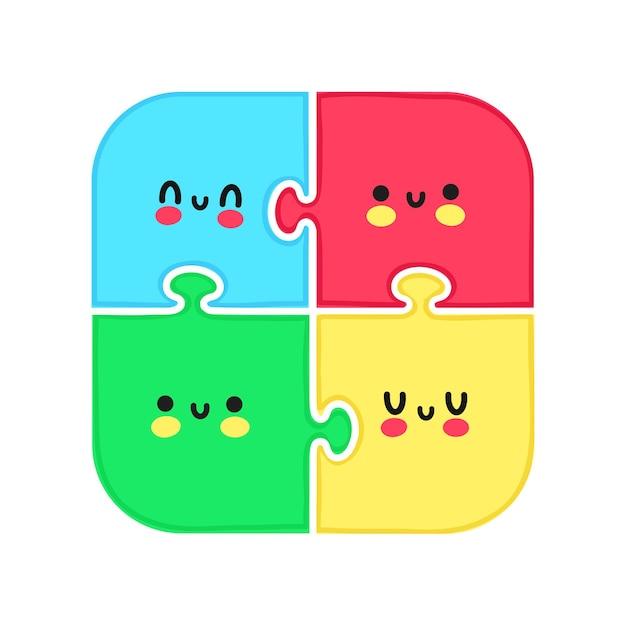 Leuke grappige puzzel met gezichtskarakter. vector hand getekend cartoon kawaii karakter illustratie. geïsoleerd op witte achtergrondgeluid. puzzel stripfiguur concept