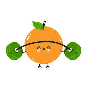 Leuke grappige sinaasappel maakt sportschool met barbell.