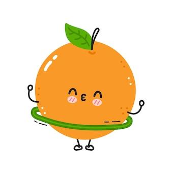 Leuke grappige sinaasappel maakt sportschool met hoelahoep