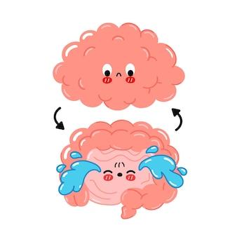 Leuke grappige trieste menselijke darm, hersenen verbinding. vector cartoon kawaii karakter illustratie pictogram. geïsoleerd op een witte achtergrond. hersenen, darm partners probleem, zenuw cartoon doodle karakter concept