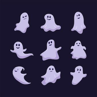 Leuke grappige vrolijke geesten. magische cartoon kinderachtige vector fantomen met verschillende emoties. vector feestelijke set voor halloween poster, wenskaart, uitnodiging.
