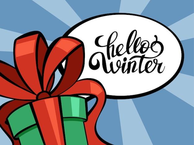 Leuke grappige vrolijke kerst briefkaart decoratie. wenskaart hallo winter voor kerstversiering. mooi in pop-artstijl. illustratie in cartoon-stijl