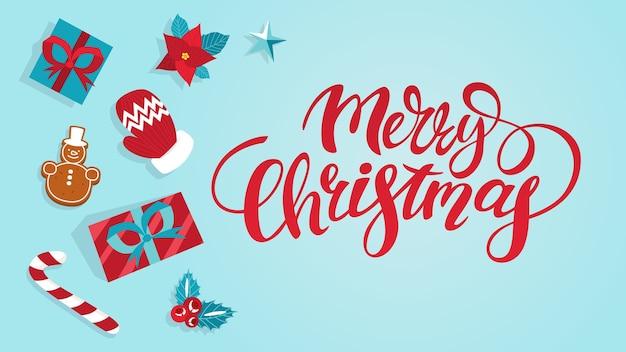 Leuke grappige vrolijke kerst briefkaart decoratie. wenskaart merry christmas met cadeau en koekjes. mooi . illustratie in cartoon-stijl