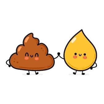 Leuke grappige vrolijke poep- en urinedruppelvrienden