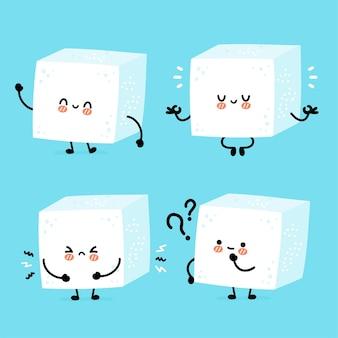Leuke grappige vrolijke suikerstukkubus karaktersetverzameling